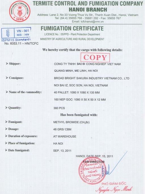 Giấy chứng nhận hun trùng - Fumigation Certificate