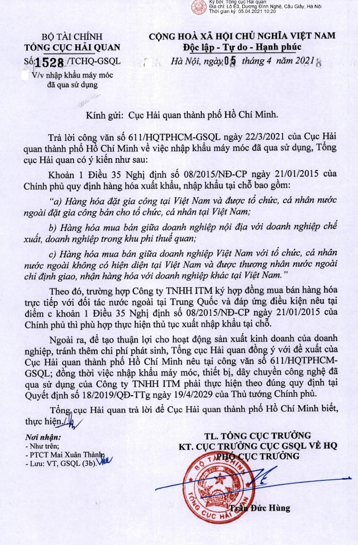 Công văn 1528/TCHQ-GSQL ngày 05/04/2021 về việc nhập khẩu máy móc đã qua sử dụng